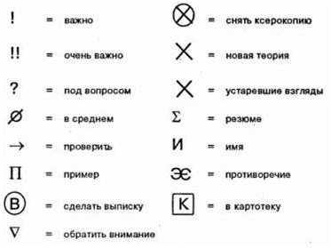 знаки пометки